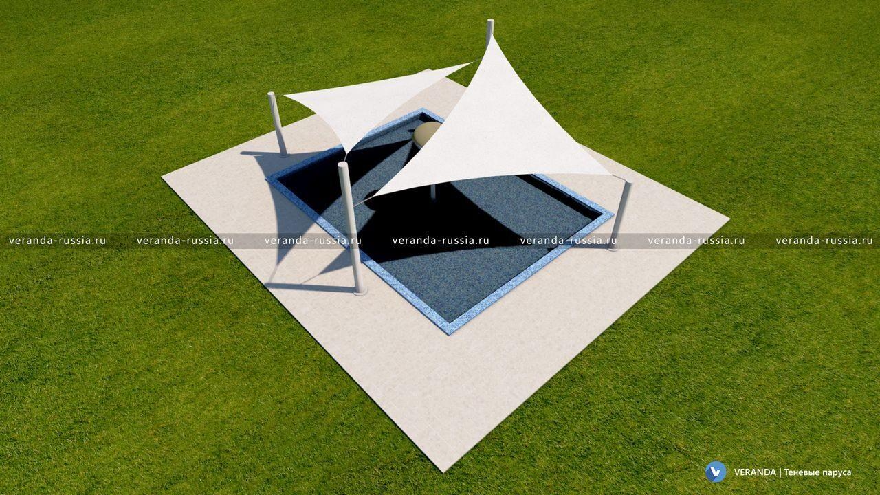 09 Дизайн-решение навеса для детского бассейна Проект разработан дизайнерами VERANDA  Теневые паруса