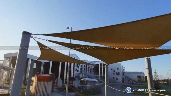 Теневые паруса для солнцезащиты и дизайна детской площадки на территории современного образовательного комплекса Точка будущего в Иркутске