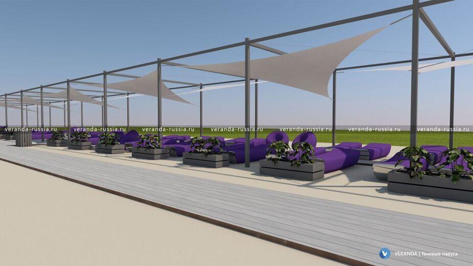 Теневые навесы для пляжа и аэрарии - Дизайн проект чертежи